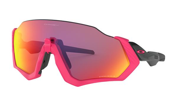 Oakley Flight Jacket - Neon Pink/Polished Black / Prizm Road